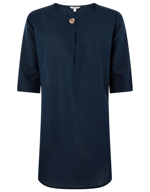 Scarlet Organic Cotton Linen Tunic Dress, Blue (NAVY), large