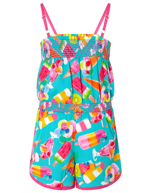 Erica Ice Lolly Playsuit in Recycled Fabric, Green (GREEN), large