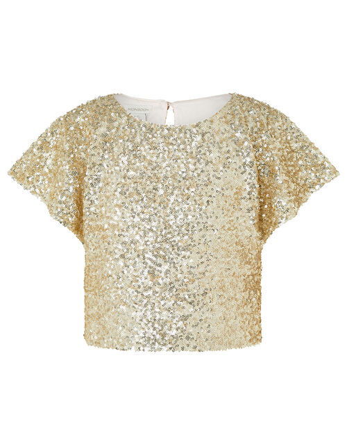 Dawn Sequin Flutter Sleeve Top, Gold (GOLD), large
