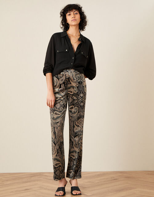 Verity Velvet Trousers , Brown (CHOCOLATE), large