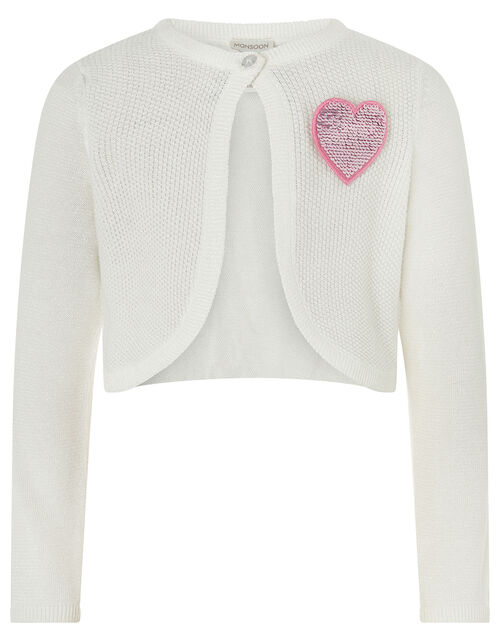 Knitted Cardigan with Sequin Heart Badge, Ivory (IVORY), large
