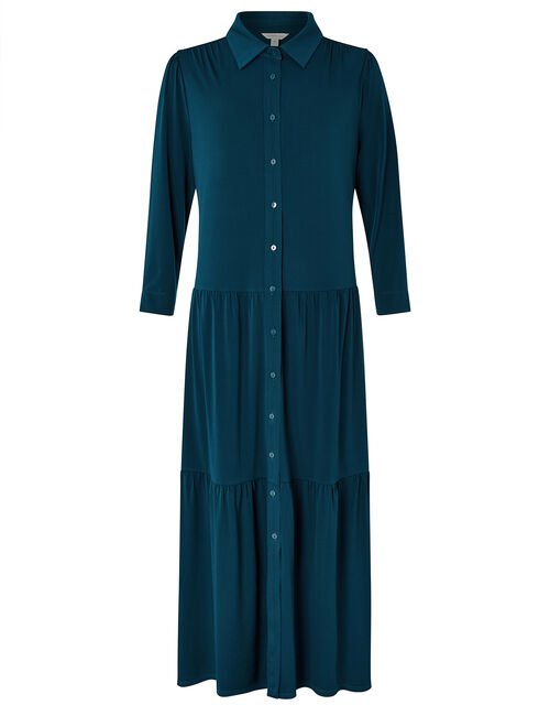 Agnes Tiered Shirt Midi Dress, Teal (TEAL), large
