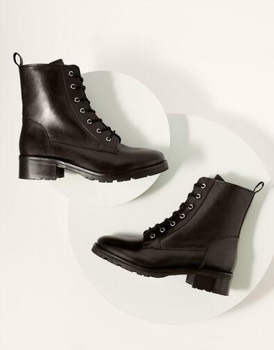 Letty Leather Lace-Up Biker Boots Black, Black (BLACK), large