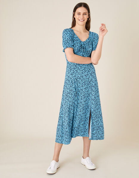 Floral Sweetheart Jersey Midi Dress Blue, Blue (BLUE), large