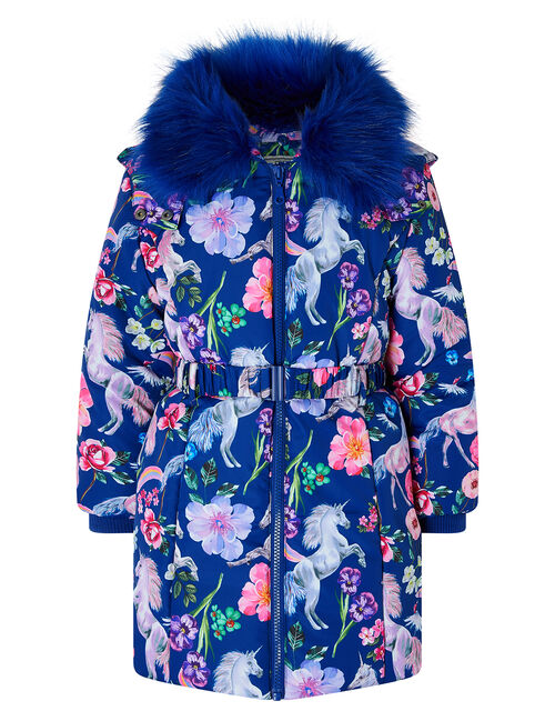 Blue Unicorn Print Padded Coat, Blue (NAVY), large