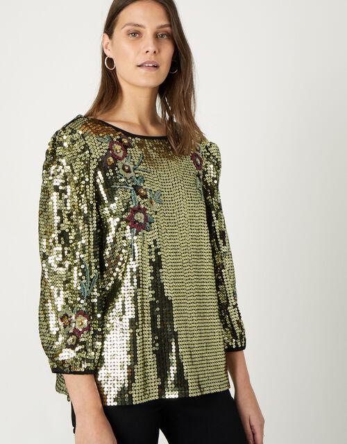 Celia Sequin Crop-Sleeve Blouse, Gold (GOLD), large