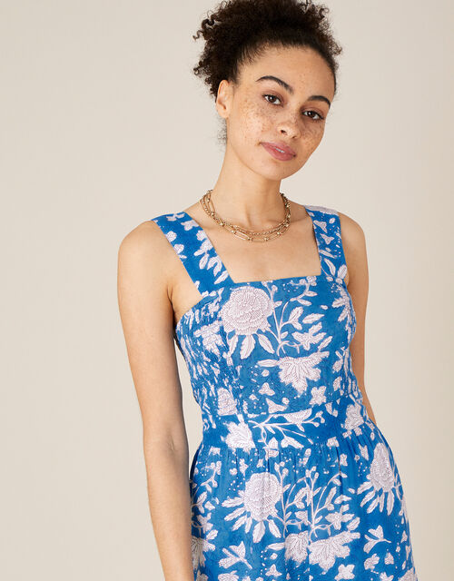Printed Jumpsuit in LENZING™ ECOVERO™, Blue (BLUE), large