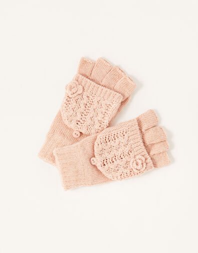 Daisy Sparkle Capped Gloves Pink, Pink (PINK), large