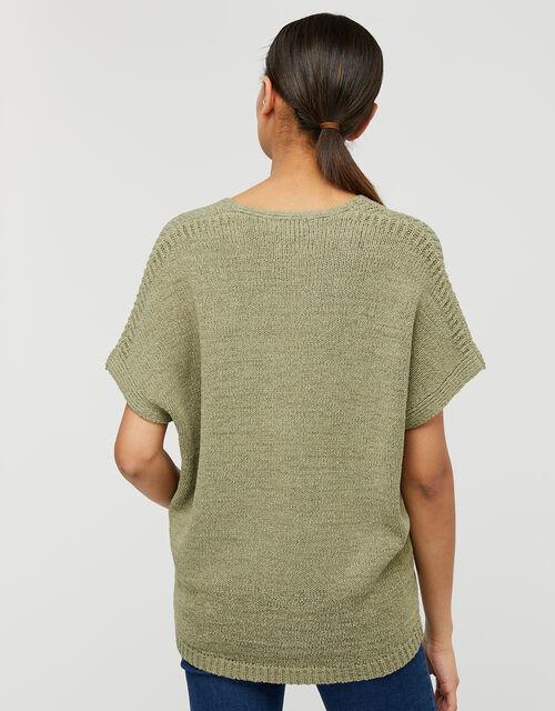 Tyla Tape Yarn Jumper, Green (KHAKI), large