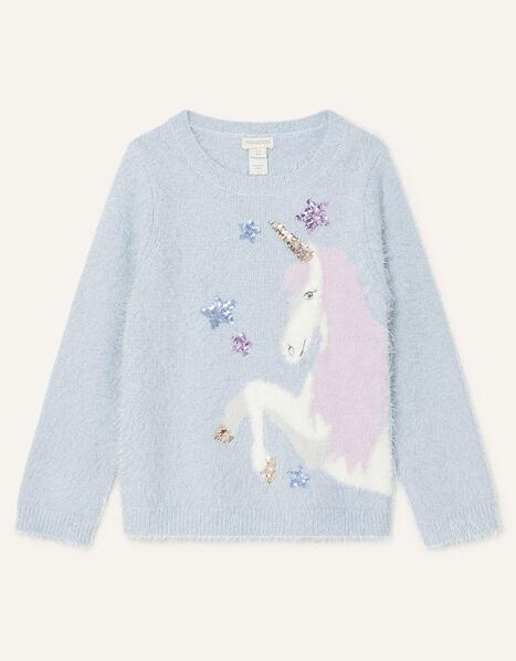Sequin Unicorn Fluffy Jumper Blue, Blue (BLUE), large