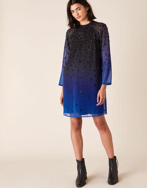 Florentina Sequin Ombre Dress, Blue (BLUE), large