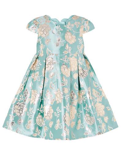 Baby Rose Jacquard Dress Blue, Blue (AQUA), large