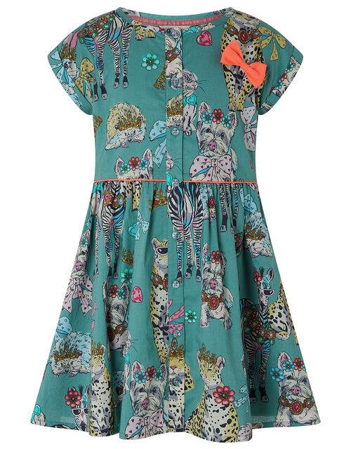 Barnie Animal Print Dress in Organic Cotton, Green (KHAKI), large