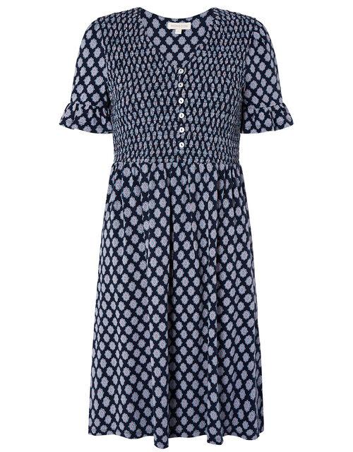 Geo Print Smock Dress, Blue (NAVY), large