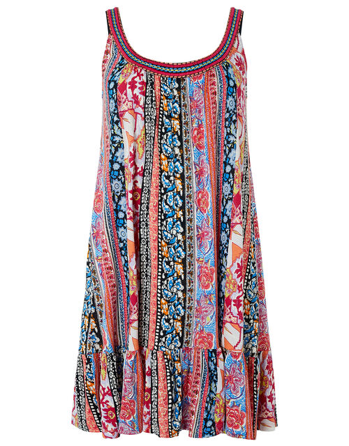 Noah Contrast Stripe Print Dress in LENZING™ ECOVERO™, Blue (NAVY), large
