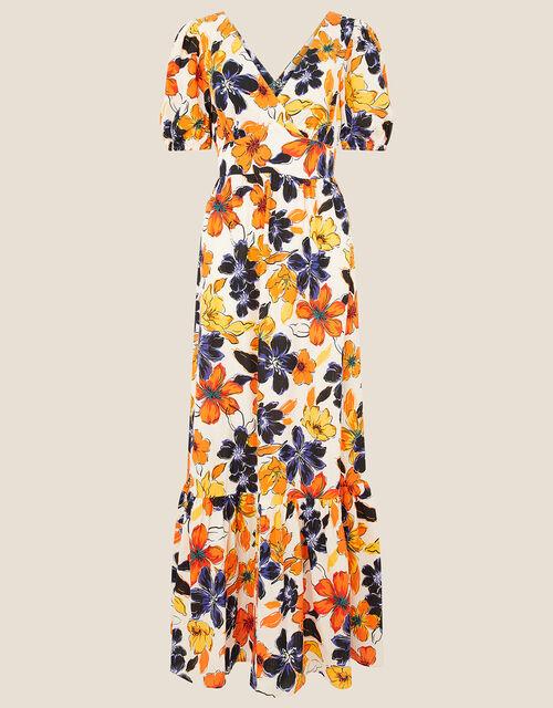 Floral Maxi Dress in Pure Cotton, Orange (ORANGE), large