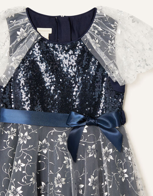 Sanchia Sequin Floral Print Dress, Blue (NAVY), large