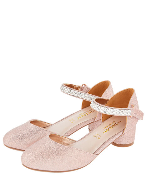 Diamante Strap Two-Part Heeled Shoes Gold, Gold (ROSE GOLD), large