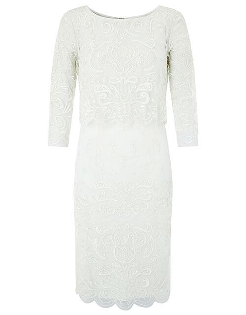 Camilla Embellished 2 Piece Short Wedding Dress, Ivory (IVORY), large