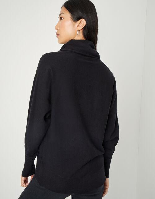 Curved Hem High Neck Jumper, Black (BLACK), large