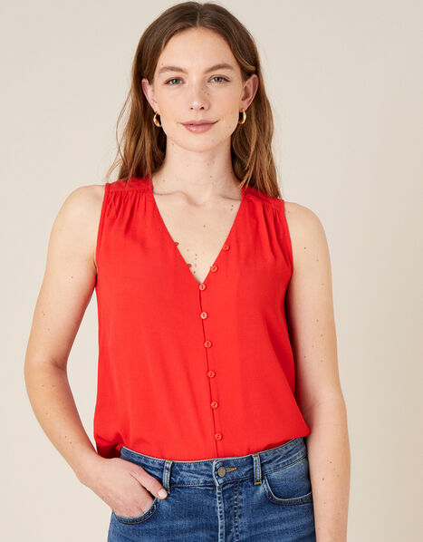 Button Front V-Neck Tank Top Red, Red (RED), large