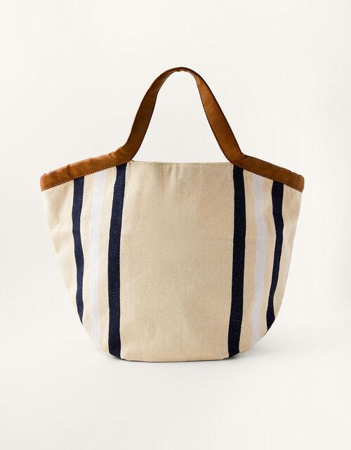 Stripe Canvas Shopper Bag, , large