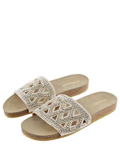 Beaded Slider Sandals Gold, Gold (GOLD), large