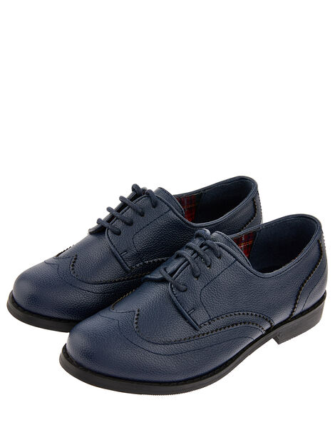 Boys' Oxford Brogue Shoes Blue, Blue (NAVY), large