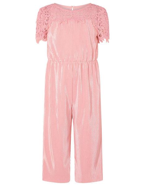 Lace Yoke Plisse Jumsuit Pink, Pink (PINK), large