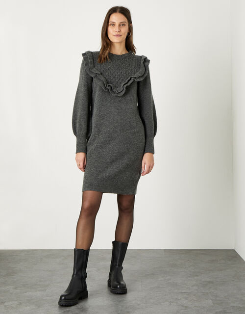 Double Frill V-Detail Dress, Grey (CHARCOAL), large
