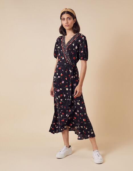 Floral Wrap Jersey Midi Dress Black, Black (BLACK), large