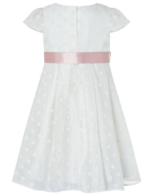 Baby Ingrid Shimmer Spot Dress, White (WHITE), large