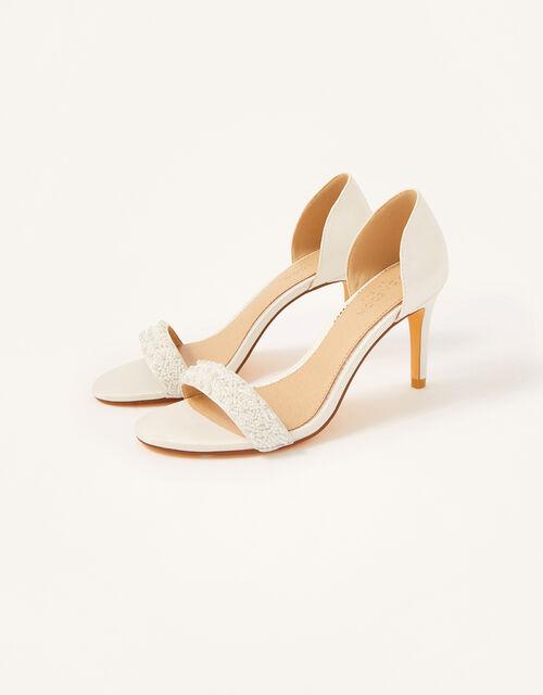 Beaded Peep-Toe Bridal Heels, Ivory (IVORY), large