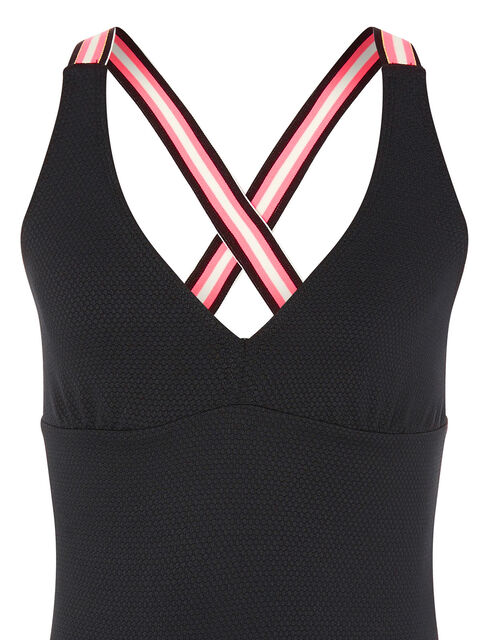 Sporty Strap Textured Swimsuit, Black (BLACK), large