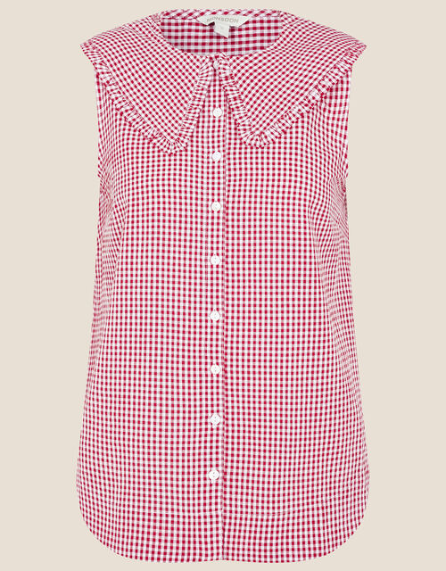 Gingham Sleeveless Top, Red (RED), large