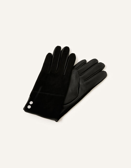 Leather and Suede Gloves, Black (BLACK), large