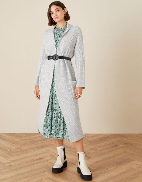 Cari Cable Knit Coatigan Grey, Grey (GREY), large