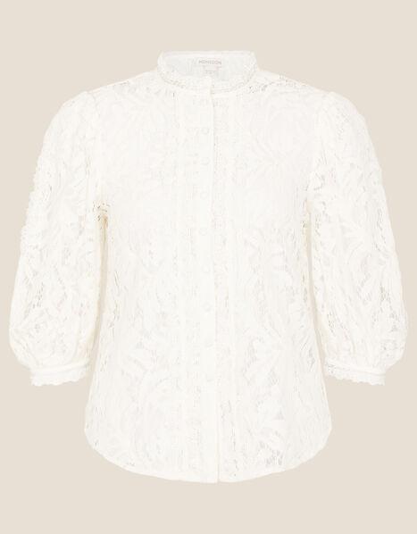 Puff Sleeve Lace Blouse Ivory, Ivory (IVORY), large