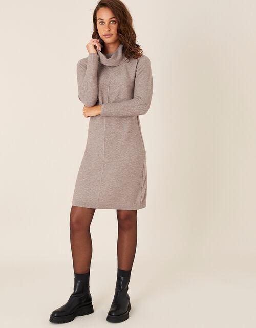 Cali Cowl Neck Knit Dress, Brown (MOCHA), large