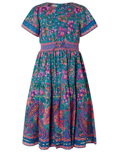 Teal Paisley Print Midi Dress, Teal (TEAL), large