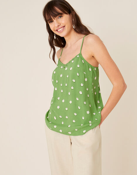 Spot Print Cami in Sustainable Viscose Green, Green (GREEN), large