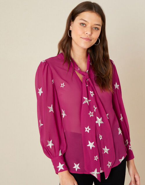 Liza Star Pussybow Blouse, Pink (PINK), large
