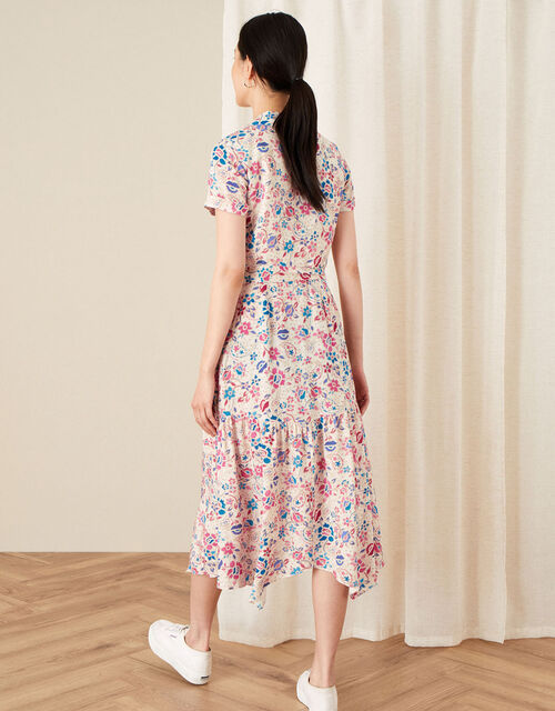 Teagan Floral Shirt Dress, Ivory (IVORY), large