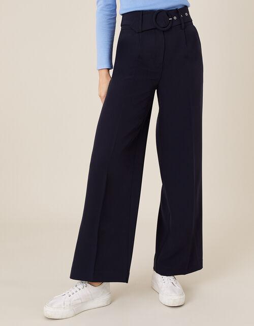 Circle Belt Wide Leg Trousers, Blue (NAVY), large