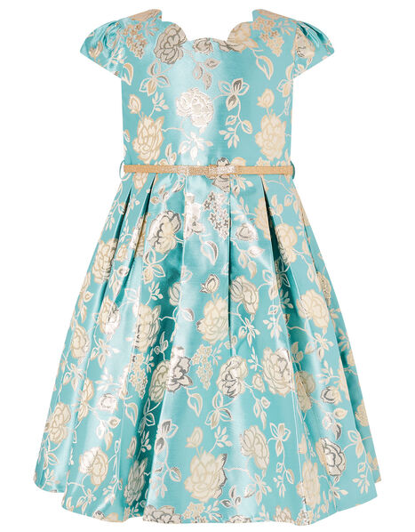 Rose Jacquard Dress Blue, Blue (AQUA), large