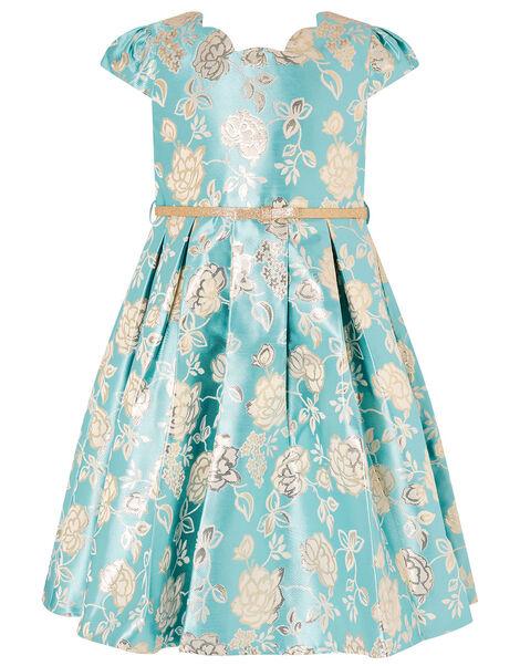 Rose Jacquard Dress Blue, Blue (AQUA), large
