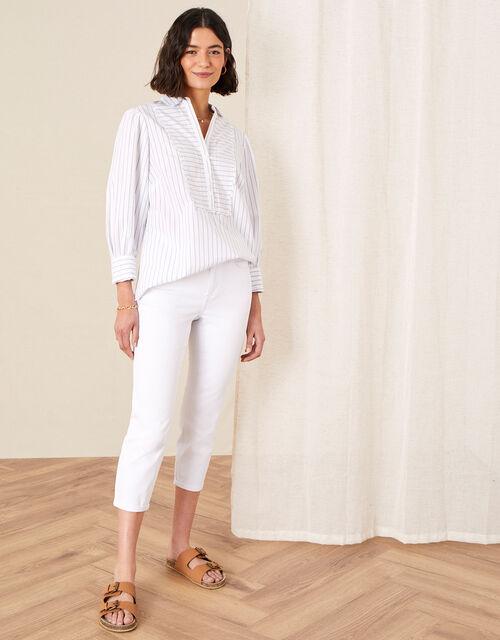 Idabella Cropped Jeans, White (WHITE), large