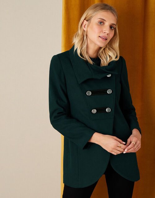 Lizzie Military Peacoat in Wool Blend, Green (GREEN), large