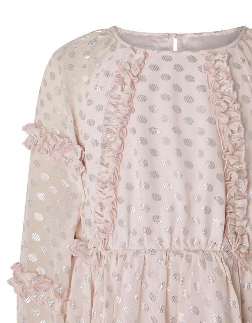 Vienne Pink Metallic Spot Chiffon Dress, Pink (PINK), large