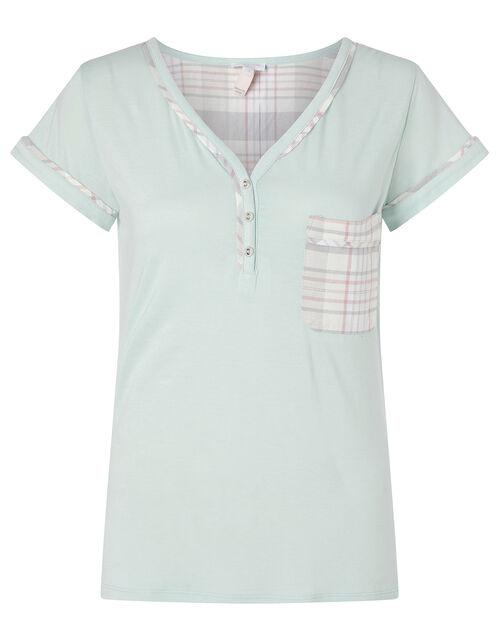 Check Print Jersey Pyjama Top, Green (GREEN), large